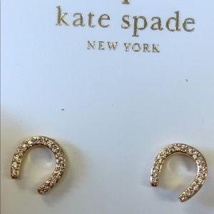 Kate Spade wild pave horseshoe gold stud earring